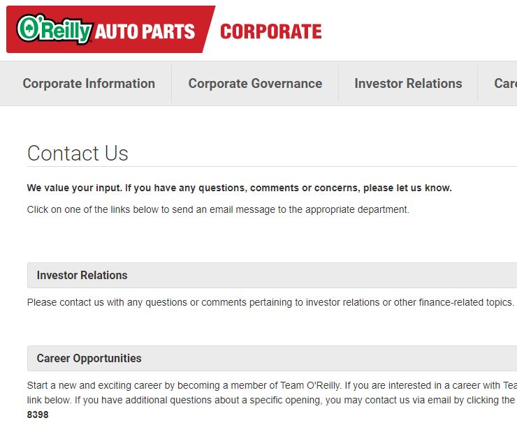How do I contact O'Reilly Auto Parts
